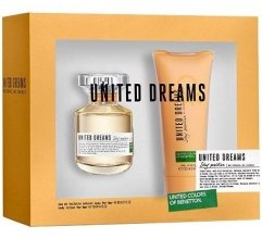 Парфюми, Парфюмерия, козметика Benetton United Dreams Stay Positive - Комплект (edt/50ml + b/lot/100ml)