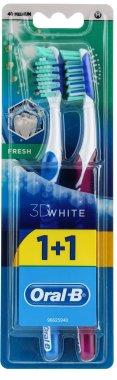Комплект четки за зъби, средна твърдост, синя + лилава - Oral-B 3D White Fresh 40 Medium 1+1 — снимка N1