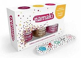Парфюми, Парфюмерия, козметика Комплект за нокти - Namaki (три лака за нокти на водна основа/7.5ml+ пила за нокти) (Caribbean + Coral-bronze + Lime)