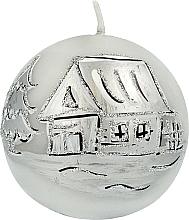 Парфюмерия и Козметика Декоративна свещ, 8 см, топка, сива - Artman Christmas Decorative Candle Frozen