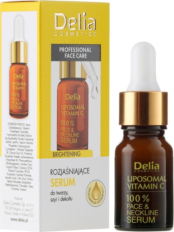Изсветляващ серум за лице, шия и деколте - Delia Liposomal Vitamin C 100% Face Neckline Serum Anti Wrinkle Treatment