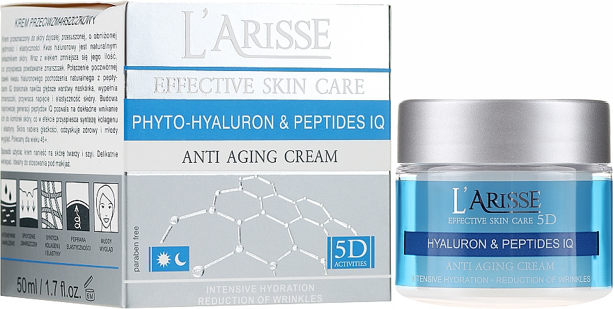 Крем против бръчки с хиалуронова киселина и пептиди 45+ - Ava Laboratorium L'Arisse 5D Anti-Wrinkle Cream Phytohyaluron + Peptides
