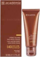 Парфюмерия и Козметика Слънцезащитен регенериращ крем SPF 40+ - Academie Bronzecran Face Age Recovery Sunscreen Cream
