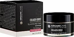 Парфюмерия и Козметика Подмладяващ нощен крем за лице - Arganicare Collagen Boost Rejuvenating Night Cream