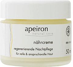 Парфюмерия и Козметика Подхранващ и възстановяващ нощен крем за лице - Apeiron Nourishing Regenerating Night Cream