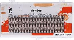 Парфюмерия и Козметика Мигли на снопчета, C 12 mm - Ibra 20 Flares Eyelash Knot Free Naturals