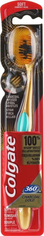 Четка за зъби, мека, златно с тюркоаз - Colgate 360 Charcoal Gold Soft Toothbrush — снимка N1