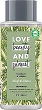 Парфюмерия и Козметика Почистващ шампоан за нормална и мазна коса - Love Beauty&Planet Delightful Detox Rosemary & Vetiver Vegan Shampoo