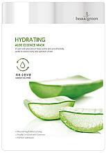 Парфюмерия и Козметика Памучна маска за лице с екстракт от сок от алое - BeauuGreen Hydrating Aloe Essence Mask