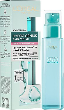 Аква-флуид за суха и чувствителна кожа на лицето - L'Oreal Paris Hydra Genius Aloe Water